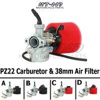Engine PZ22 22mm Carburetor & 38mm Air Filter For Keihin 110cc 125cc KAYO Apollo Bosuer xmotos Kandi dirt/pit bikes monkey ATV