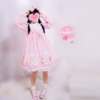 Free New New Arrival Shipping 2019 Japanese Lolita Cute Doll Pink Rabbit Plaid Long Sleeve Dress Oplorita
