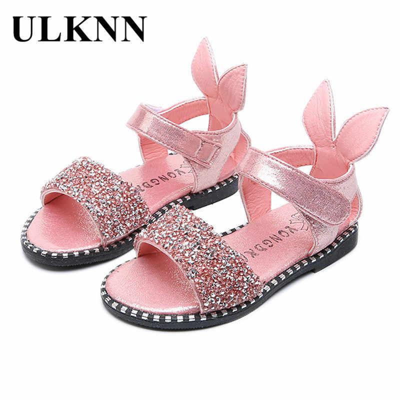 2abe33f5dc84 ULKNN Children Shoes Toddler Baby Girls Princess Sandals Kids Summer Party  Wedding Glitter Rabbit Sandalias School