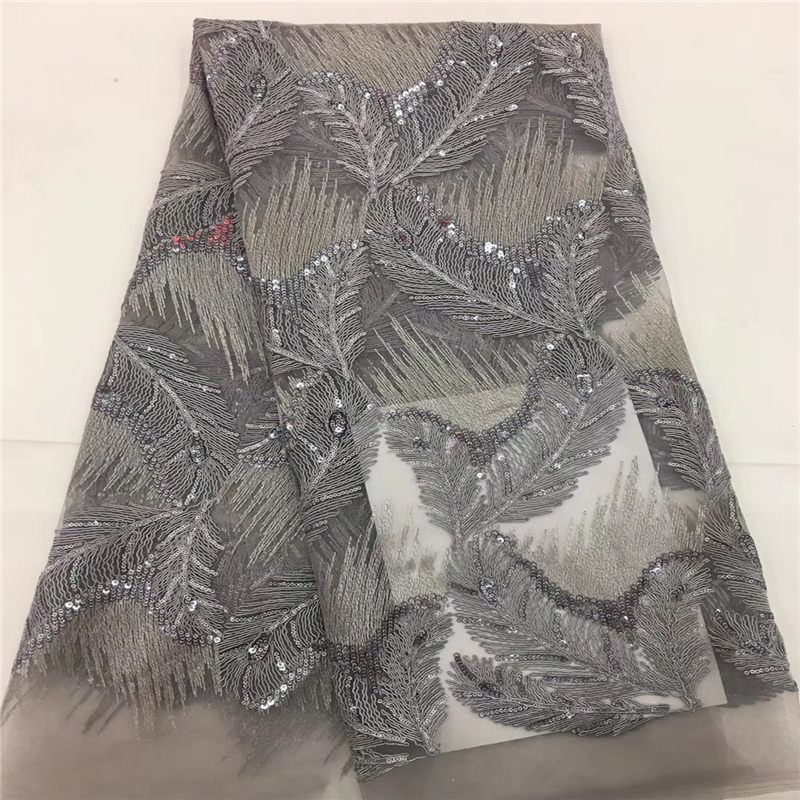 VILLIEA African Lace Fabrics 5yard Grey Guipure Lace Fabric 2018 High Quality Nigerian Cord Lace Fabric