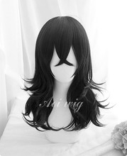 My Hero Academia perruque ondulée noire de 45cm Akademia Shouta Aizawa pour Costume de Cosplay, piste + capuchon, résistante à la chaleur
