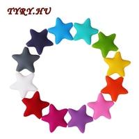 TYRY.HU 50PC Silicone Star Beads Bpa Free Pentagram Teething Pendant Teether Necklace Bracelet Accessories Diy Nursing Toy Gift