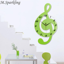 M Sparkling Music Note Wall Clocks Wooden Glass Creative Hanging font b Watches b font Livingroom
