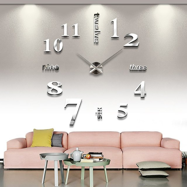 Modern diy analog 3d mirror surface large number wall clock sticker home decor fashion design large