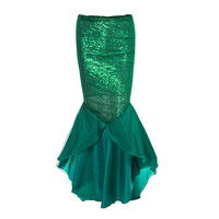 Chic Pretty Green Sequined Short Skirts For Women To Prom Party Pleated Ruffles Tulle Long Skirt Zipper Custom Made 2018