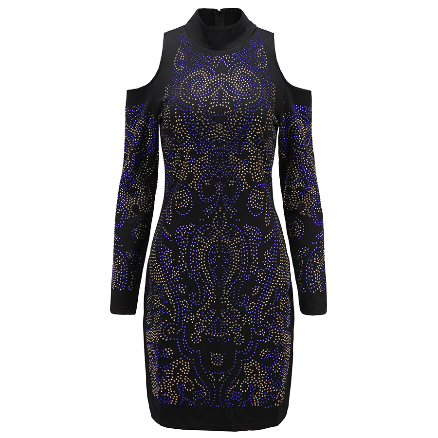 High QUALITY Paris Fashion 2017 BAROCCO Designer Dress Women s Multi Colors Rhinestone Diamonds Embellished Bodycon