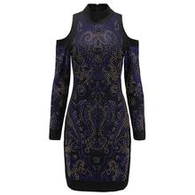 Высокое качество Париж Мода 2017 Barocco дизайнерское платье Для женщин разноцветный Rhinestone Diamonds Украшенные Bodycon платье
