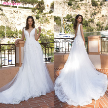 V-Neck backless Wedding Dress sleeveless with court train