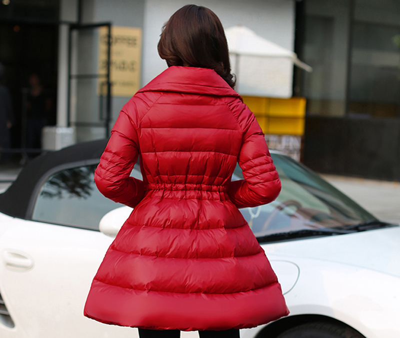 2018 New Winter Jacket Women Down Skirt Slim Cloak Warm Outwear European White Duck Down Female Parka Coats And Jackets GQ1607