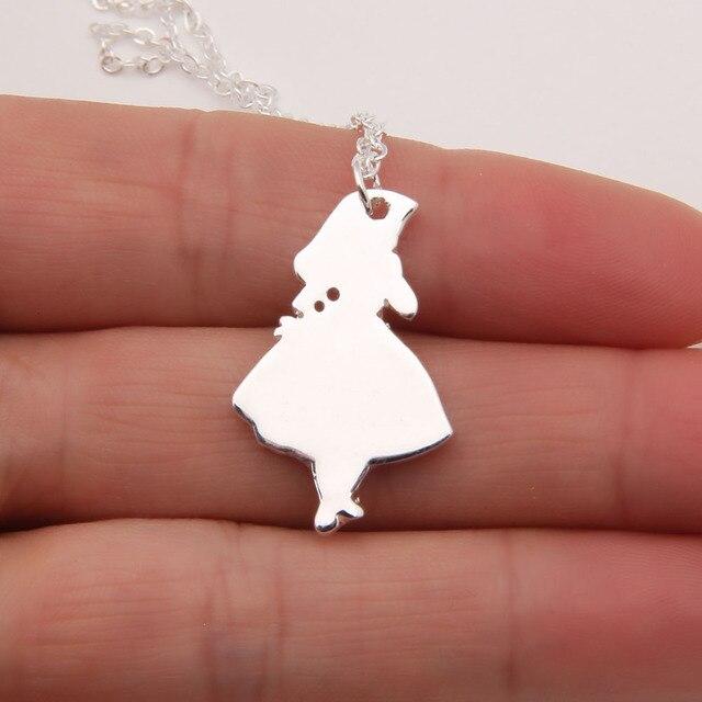 281f26bbffa1 Алиса в стране чудес Цепочки и ожерелья белый кролик Серебряный кулон  Девушка Безумный Шляпник Для женщин