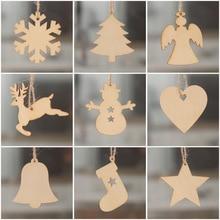 10pcs Christmas decorations wood craft laser hollow tree small pendant cute creative new Wood Pendant supply