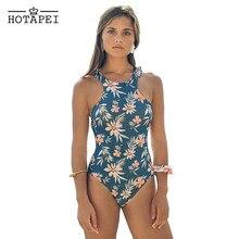 86fa8d9eb4ca86 Hotapei Sexy One Piece strój kąpielowy niebieski Monokini druk kwiatowy stroje  kąpielowe body kobiety strój kąpielowy