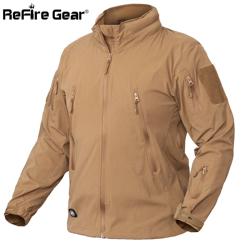 ReFire Gear Lightweight Tactical Jacket Men Waterproof Mulit Pockets Military Jackets Army Clothing Breathable Bylon Windbreaker