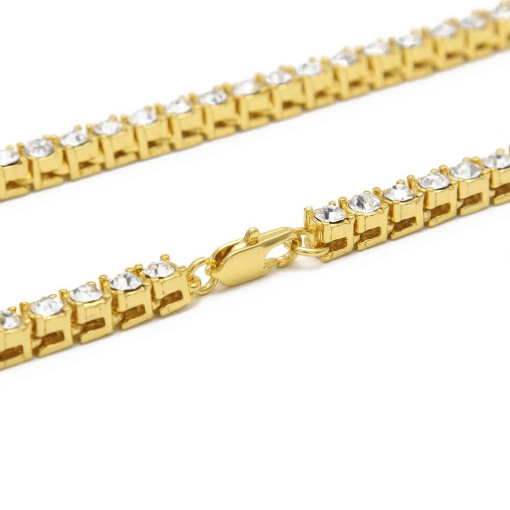 Mens היפ הופ זהב כסף מצופה 1 שורה 5mm ריינסטון טניס קישור בלינג תכשיטי אייס מתוך שרשרת קולר ארוך שרשרת CZ שרשראות