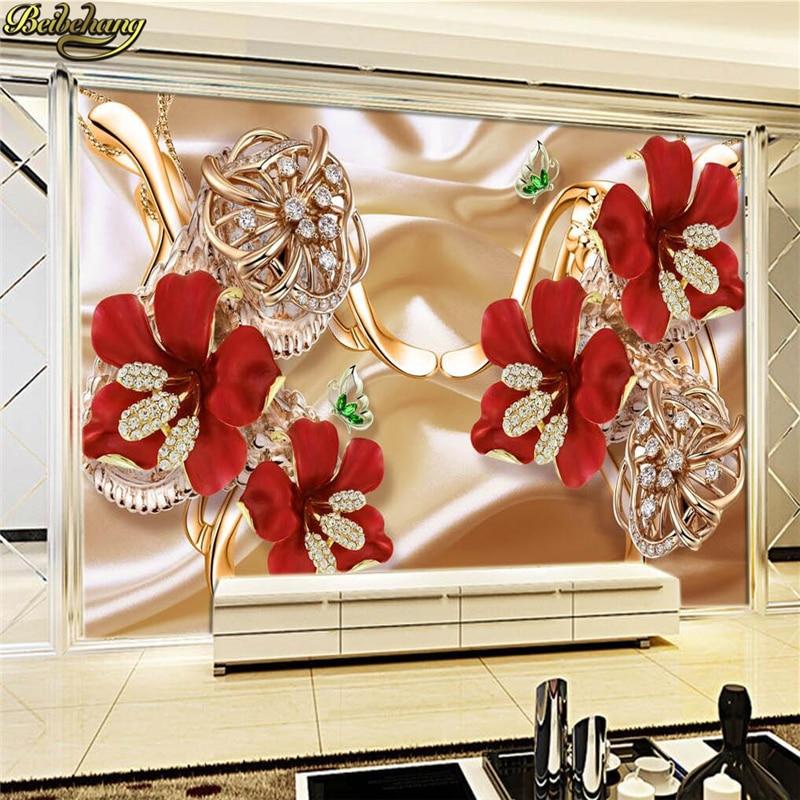 Купить с кэшбэком beibehang papel de parede Custom photo wall paper large fresco 3d luxury flowers 3d jewelry TV background wall 3d wallpaper