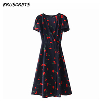 2018 Summer High Waist Wrap Dress Women Causal Short Sleeve Floral Print Red Boho Bohemian Dresses