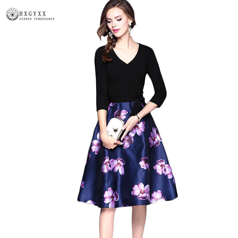 2018 Spring Autumn V-neck Pattern Printing Dress Patchwork Long Sleeve A-line Dress Slim Elegant Casual Knitted Dress Okb481 1 design laser cut white elegant pattern west cowboy style vintage wedding invitations card kit blank paper printing invitation