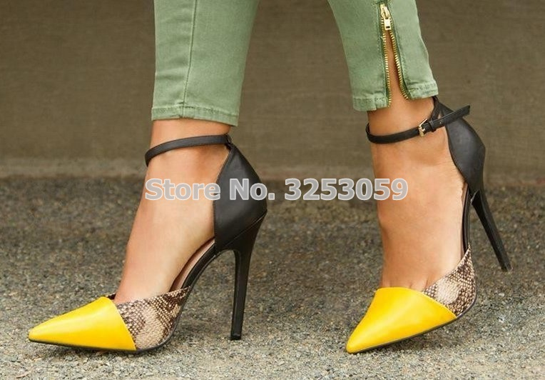 ALMUDENA Women Elegant Yellow Pointed Toe Color Patchwork Dress Shoes Sexy Snakeskin Stiletto Heels Pumps Office Lady Shoes elegant women s round toe pumps with stiletto and suede design