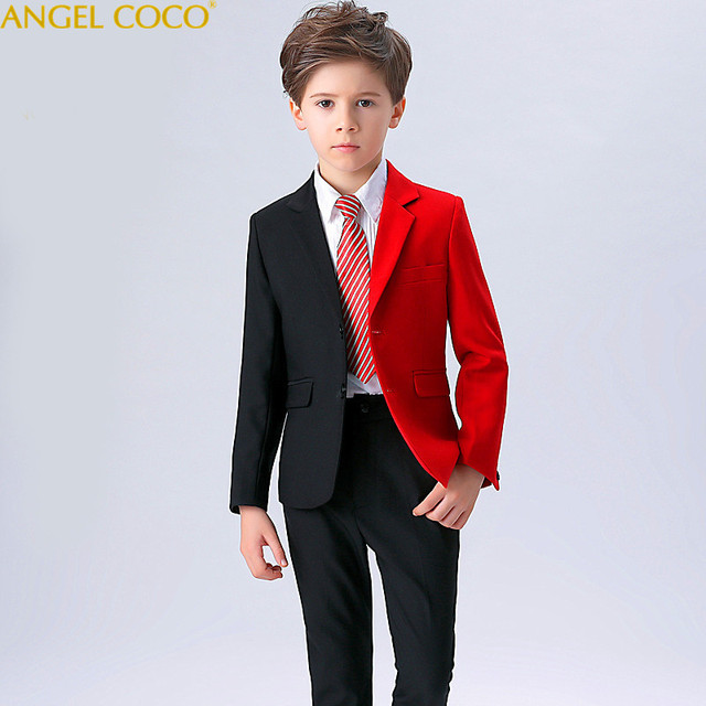 6928c43c236 2018 New Fashion Red Balck Baby Boys Suit Kids Blazers Boy Suit For Weddings  Prom Formal Spring Autumn Wedding Dress Boy Suits