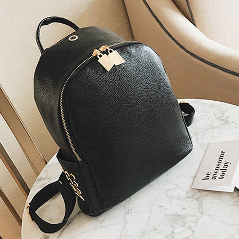 High Quality Women Backpack Rivet Black Leather Bag Girl School Bags Female Rucksack mochila feminina Travel Ladies Backpacks цена 2016