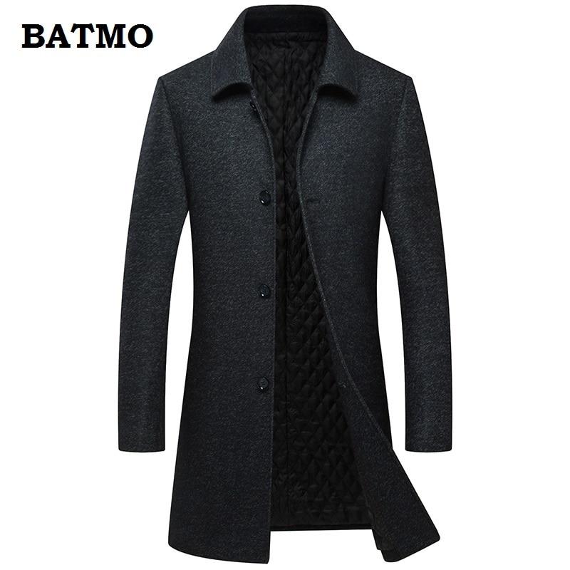 BATMO 2018 new arrival winter high quality wool casual long thicked trench coat men,men's long black jackets,long coat men ,AL29