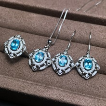 KJJEAXCMY boutique jewels 925 sterling silver with natural topaz ring pendant earrings for lady set goddess