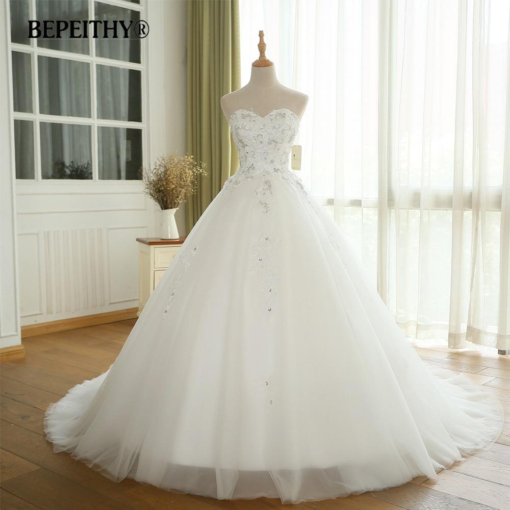 BEPEITHY Beaded Wedding Dress Sweetheart Ball Gown Vestido De Novia Bridal Dresses 2019