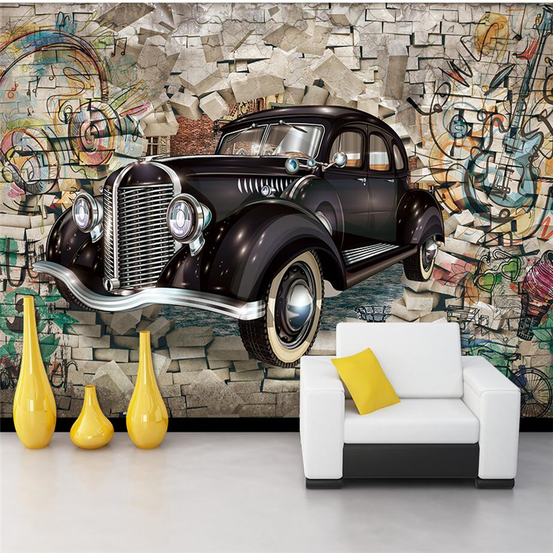 beibehang papel parede Custom wallpaper Retro classic car through the wall 3D stereo restaurant bar mural background wall