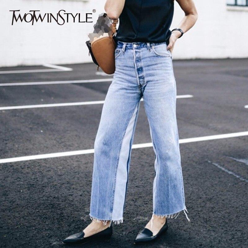 TWOTWINSTYLE Patchwork กางเกงยีนส์หญิงสูงเอวกระเป๋า Vintage ยาว Denim กางเกงขากว้างผู้หญิงฤดูร้อนแฟชั่นสบายๆเสื้อผ้า-ใน ยีนส์ จาก เสื้อผ้าสตรี บน   1
