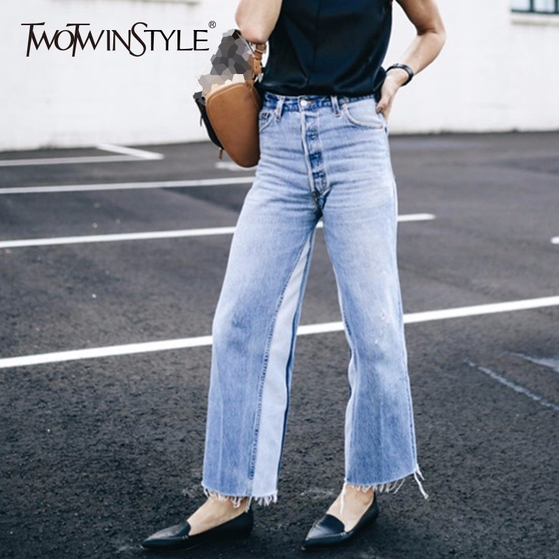 TWOTWINSTYLE Patchwork   Jeans   Female High Waist Pocket Vintage Long Denim Wide Leg Pants Women Summer Fashion Casual Clothing