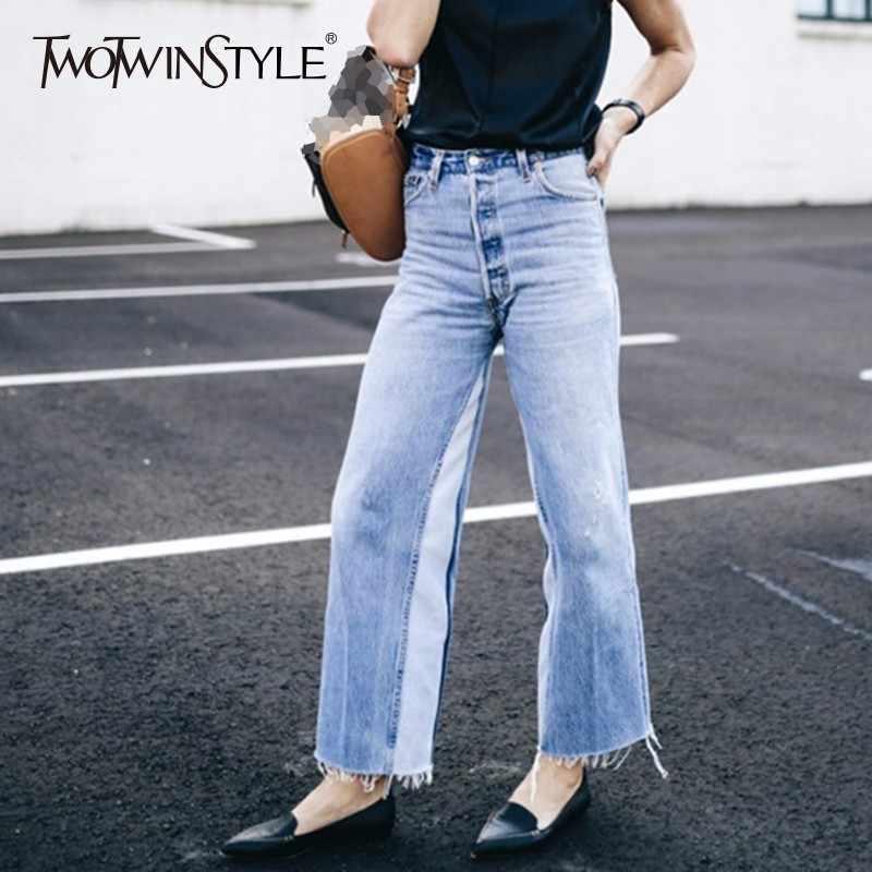 TWOTWINSTYLE джинсы в стиле пэчворк женские шорты с завышенной талией и карманами винтажные длинные джинсовые широкие брюки женская летняя модная повседневная одежда