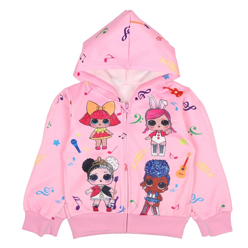 New Girl Sweatshirt Children Hoodies LOL Surprise Dolls Costume Kid Jacket For Girls Outwear Zip Sweatshirt Hooded Coat clothes