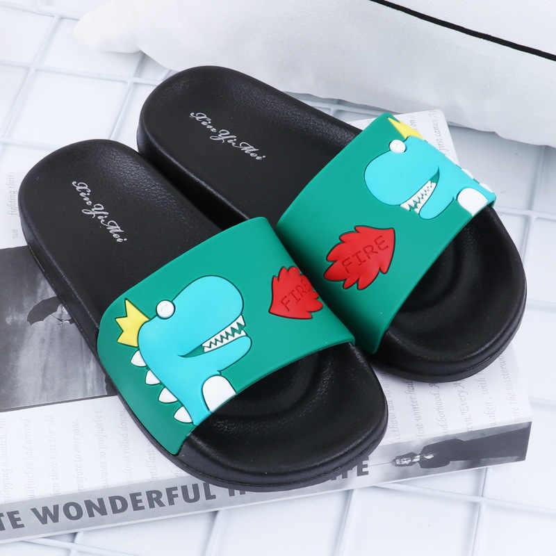 ילדי קיץ קריקטורה דינוזאור כפכפים תינוק בני בנות מקורה מים נעלי ילדים מצחיק חיצוני חוף סנדלי פעוט כפכפים