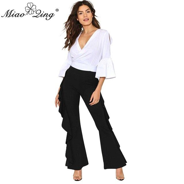 MIAOQING 2018 Летние черные Для женщин брюки полиэстер Высокая Талия расклешенные брюки уличная Стиль женские Лоскутные Широкие штаны с оборками