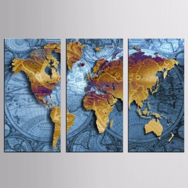 Hot sale 3 panel vintage world map europe painting home decor wall hot sale 3 panel vintage world map europe painting home decor wall art picture canvas printed gumiabroncs Gallery
