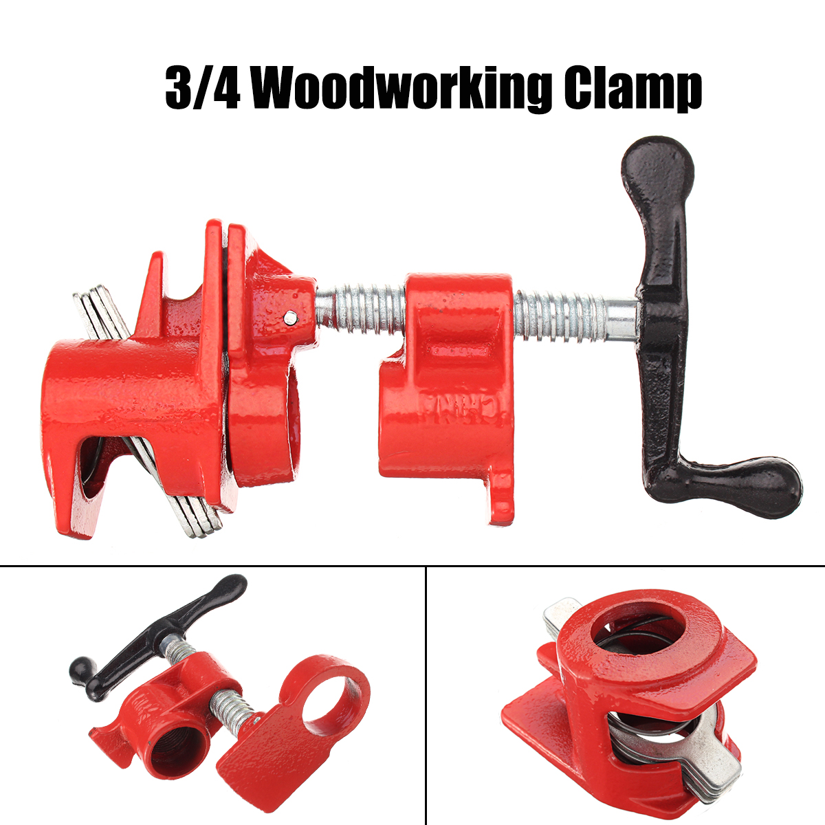 3/4'' Heavy Duty Pipe Clamp Set Quick Release Wood Gluing Woodworking Cast Iron недорого