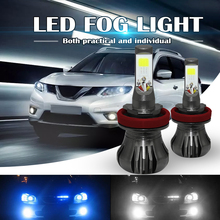 Fog Light Dual Color 160W H8 H9 H11 LED Fog Light Bulbs 6000K White + 8000K Ice Blue Colors Strobe Lamp Bulb COB Bulb Kit sst 90 2300lm led emitter 8000k white light bulb 4 2v