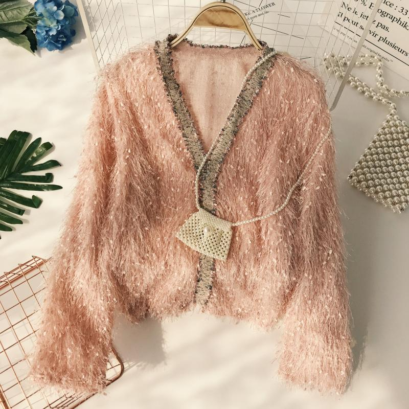 Fairy V-neck Hairy Gold Tassels Sweat Lazy Windy Fringed Pullovers Sweet Long Sleeved Thin Knitted Shirts 2018 Tops
