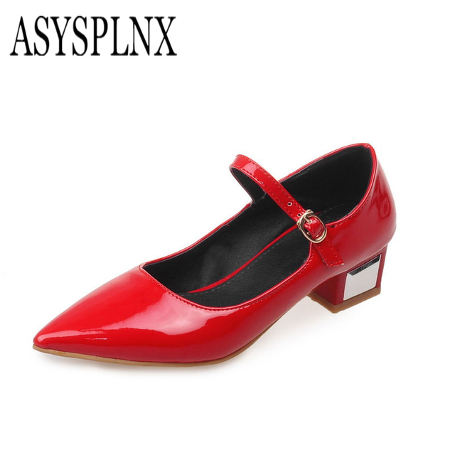 Square low heels woman shoes 2017summer womens Pumps red white yellow black ladies fashion pointed toe casual mary janes shoes