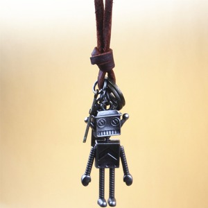 teenagers The Wizard of Oz Cute robot pendant necklace leather cord rope necklace for boys & girls Christmas jewelry gifts