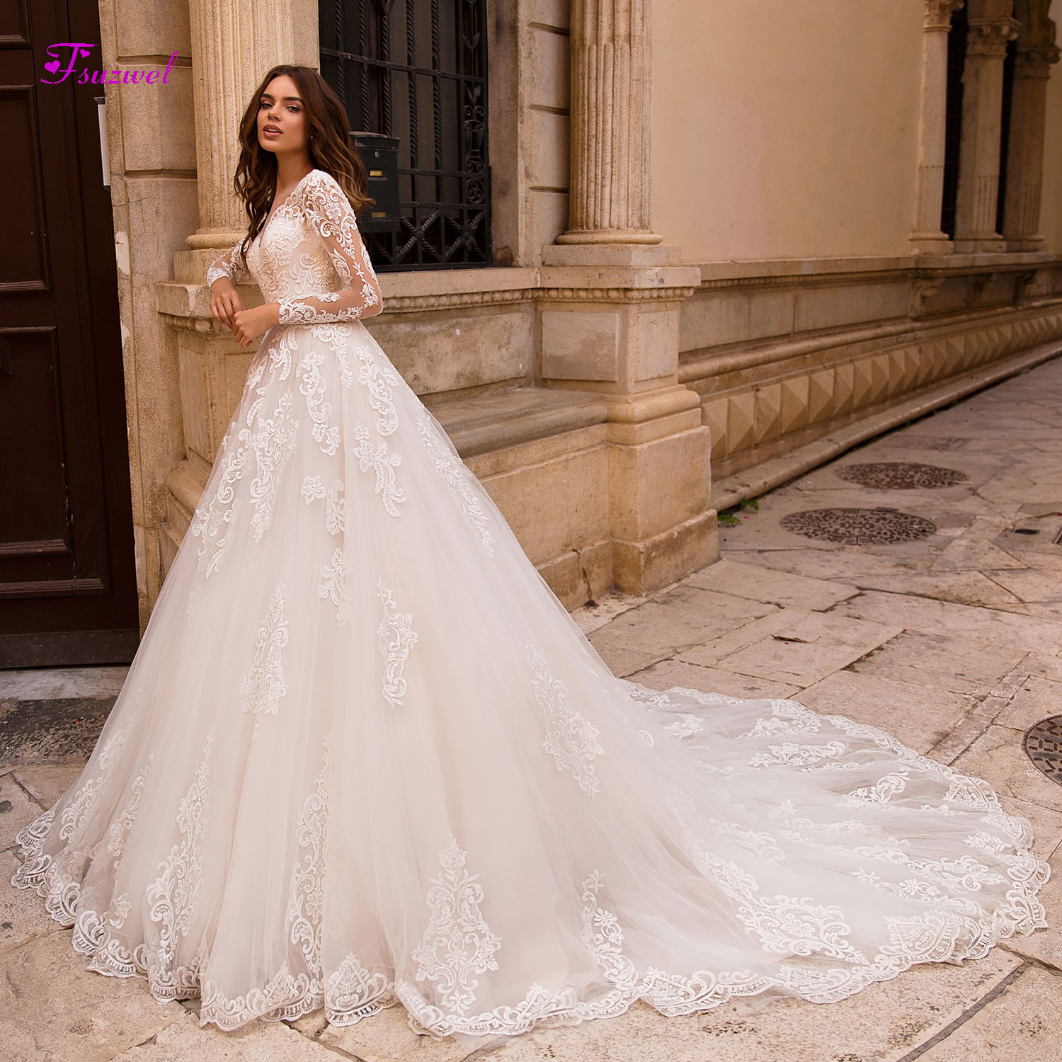 Fsuzwel Vestido de Noiva Appliques Long Sleeves A Line Wedding Dresses 2019 Sexy V neck Lace