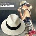 2016 Nueva Moda Clásico Al Aire Libre de viaje Ocasional sombrero de Paja hombres de ancho brim panamá Panamá Sombrero de vaquero sombrero sólido de la alta calidad Para La Mujer