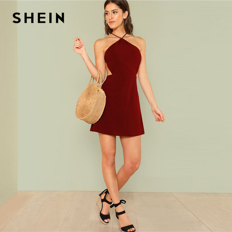 61ed99646b Aliexpress.com : Buy SHEIN Burgundy Strappy Back Solid Halter Dress  Vacation Sleeveless A Line Backless Party Dresses Women Autumn Beach Dress  from Reliable ...