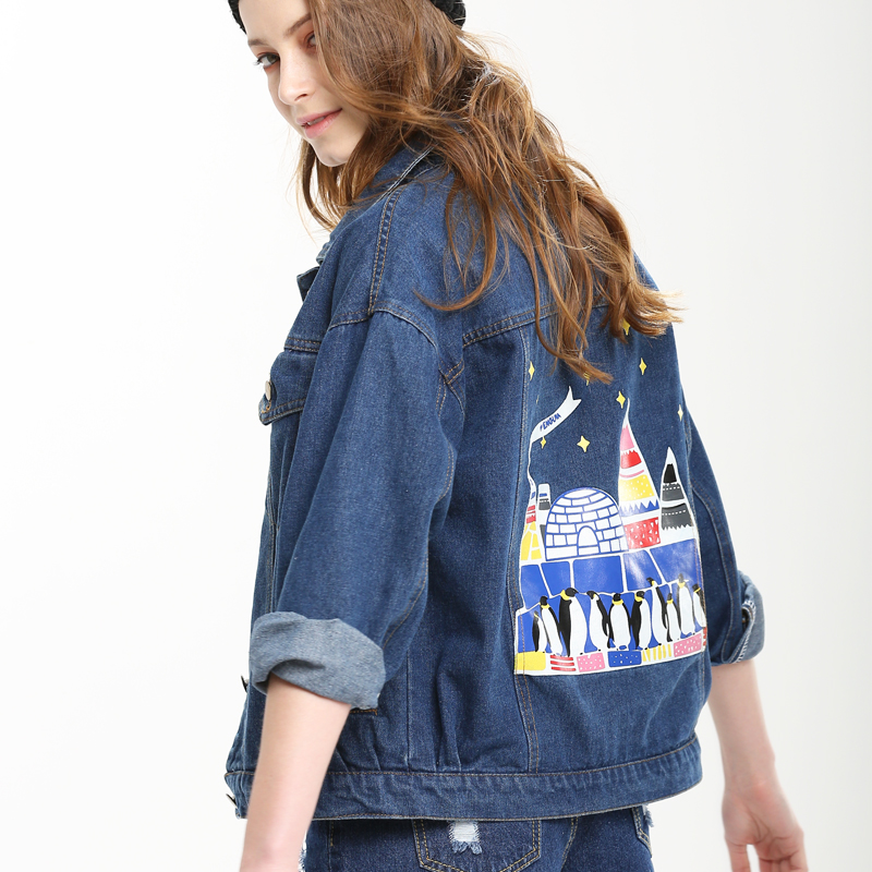 2016 Cute Cartoon Print Denim Jacket Women Casual Jeans Coat ...