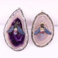 Модные 3 шт. Подвеска из натурального камня, Micro Pave CZ насекомых драгоценные камни ювелирные подвески
