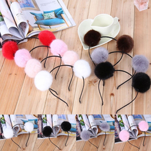 1PC Hot Sale High Quality Cute Women Furry Fluffy Artificial Double Rabbit Plush Balls Headband