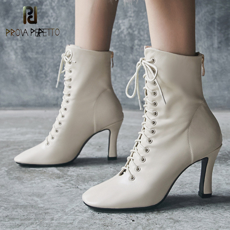 Prova Perfetto Ankle Boots Para As Mulheres Sapatos de Salto Alto Botas de Inverno Botas de Couro Real Cross-amarrado Botas Dedo Do Pé Quadrado sapatas das senhoras