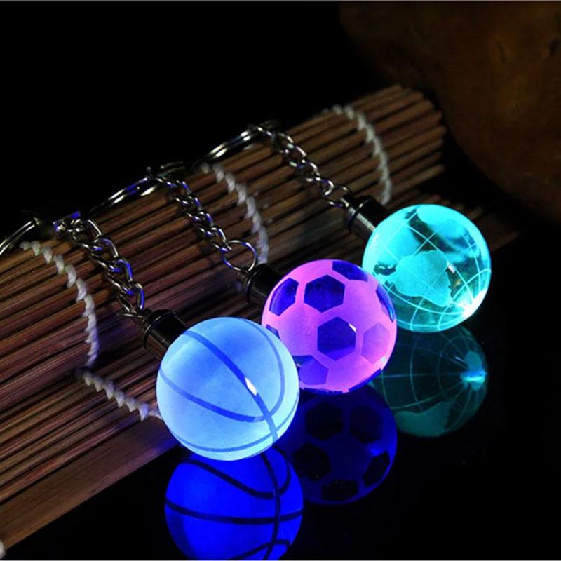 New Crystal Led Light Keychain Car Key Chain Key Ring Football Basketball Earth Ball Pendant Keyring For Favorite Sportsman Gift 1