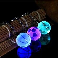 Хрустальный светодиодный светильник, брелок для автомобиля, брелок для ключей, футбольный баскетбольный мяч, подвеска, брелок для любимого спортсмена, подарок