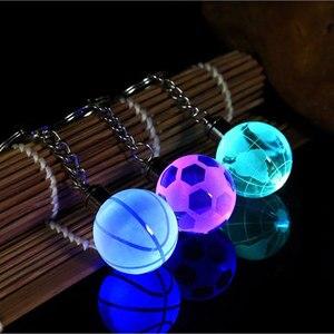 New Crystal Led Light Keychain Car Key Chain Key Ring Football Basketball Earth Ball Pendant Keyring For Favorite Sportsman Gift